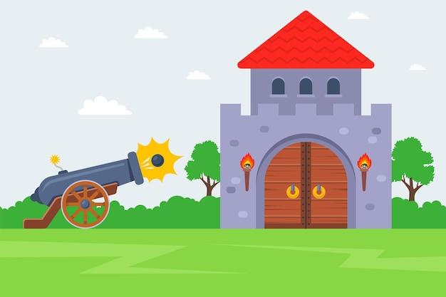 Szturm na wrogi zamek. strzelać z armaty w twierdzę.