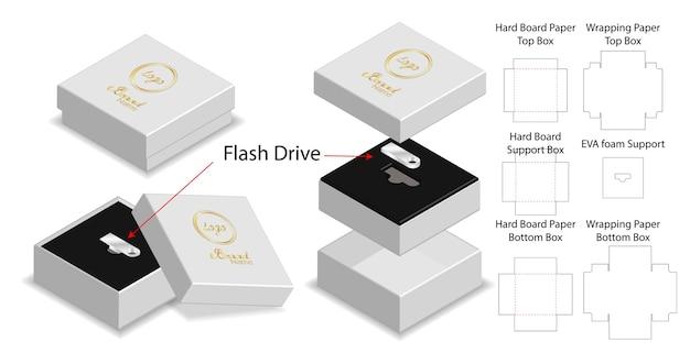 Sztywne pudełko do pakowania dysków flash matryca makieta
