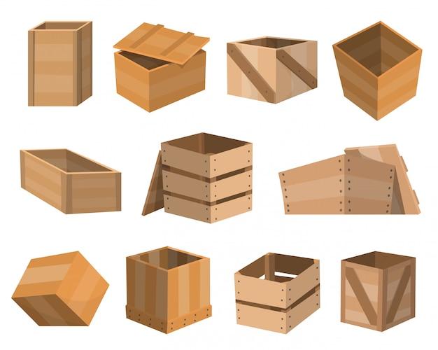 Szuflady drewniane. pakiet pudełek. drewniane puste szuflady i zapakowane pudełka lub skrzynie do pakowania. pojemniki na dostawę lub zestaw wysyłkowy. ilustracja na białym tle
