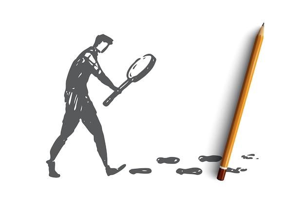 Szukaj, lupa, detektyw, szkło, koncepcja internetu. ręcznie rysowane osoba wyszukująca z lupą szkic koncepcji.