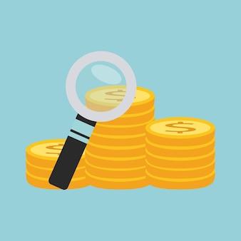 Szukaj pieniędzy z powiększającym ikona na białym tle