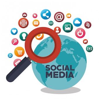 Szukaj w mediach społecznościowych na białym tle