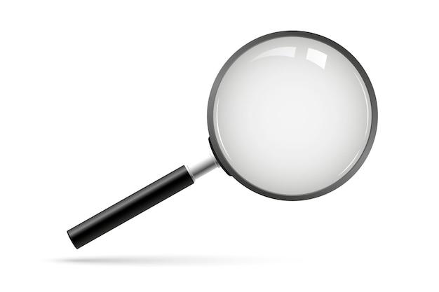 Szukaj wektor. szkło powiększające z przezroczystym tłem. lupa, duży instrument narzędziowy. wyszukiwanie w lupie lupy. symbol analizy biznesowej