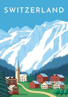 Szwajcaria podróż retro plakat, alpy vintage.