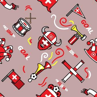 Szwajcaria soccer supporter seamless pattern