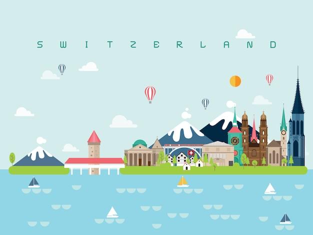Szwajcaria znane zabytki infographic