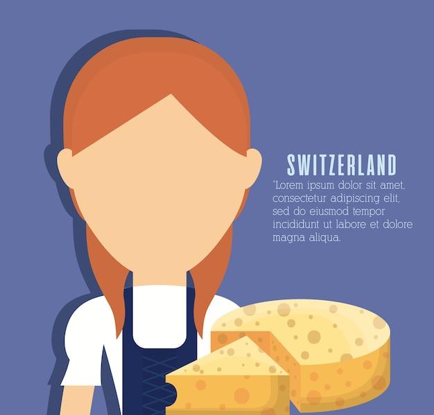 Szwajcarska kobieta i ser ikona