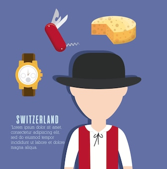 Szwajcarski człowiek i ikoniczne szwajcarskie rzeczy dookoła