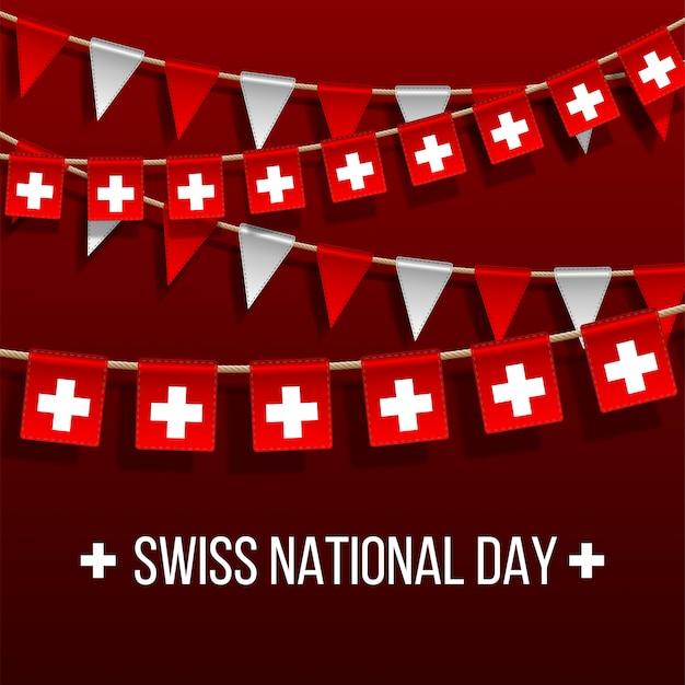 Szwajcarski narodowy dzień tło z wiszącymi flagami