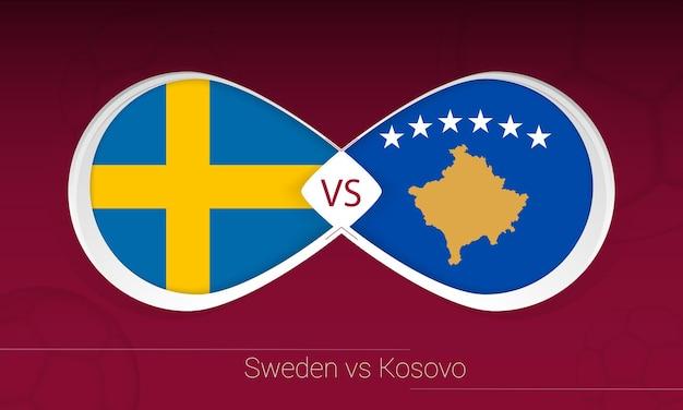 Szwecja vs kosowo w piłce nożnej, grupa b. kontra ikona na tle piłki nożnej.