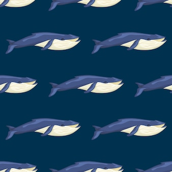 Szwu płetwal błękitny na niebieskim tle. szablon postaci z kreskówek z oceanu dla tkaniny.