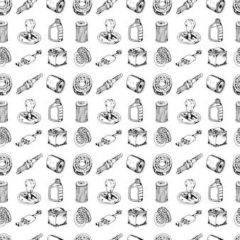 Szwu ręcznie rysowane ilustracji wektorowych zestaw auto części znak i symbol doodles elementów. na białym tle.