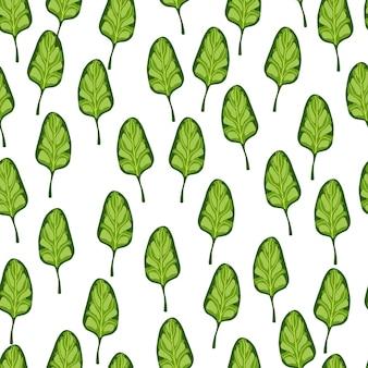 Szwu sałatka ze szpinaku na białym tle paski. nowoczesna ozdoba z sałatą. losowy szablon roślinny do tkaniny. projekt ilustracji wektorowych.