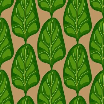 Szwu sałatka ze szpinaku na brązowym tle. nowoczesna ozdoba z sałatą. geometryczny szablon roślinny do tkaniny. projekt ilustracji wektorowych.