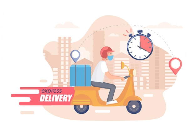 Szybka, bezpłatna i zdrowa koncepcja dostawy skuterów. żywność i inne usługi wysyłkowe dla stron poddanych kwarantannie. ilustracja szybkiej i ekspresowej dostawy.