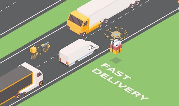 Szybka dostawa izometryczna. cartoon ciężarówki, furgonetki i drony przewożące paczki.