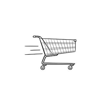 Szybka dostawa koszyk ręcznie rysowane konspektu doodle ikona. rynek, sprzedaż, handel, sprzedaż, koncepcja biznesowa. szkic ilustracji wektorowych do druku, sieci web, mobile i infografiki na białym tle.