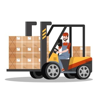 Szybka dostawa. kurier w mundurze w wózku widłowym z pudełkiem. koncepcja logistyczna. ilustracja w stylu kreskówki