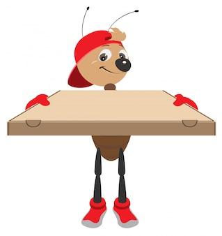 Szybka dostawa pizzy. kurier mrówek trzyma karton