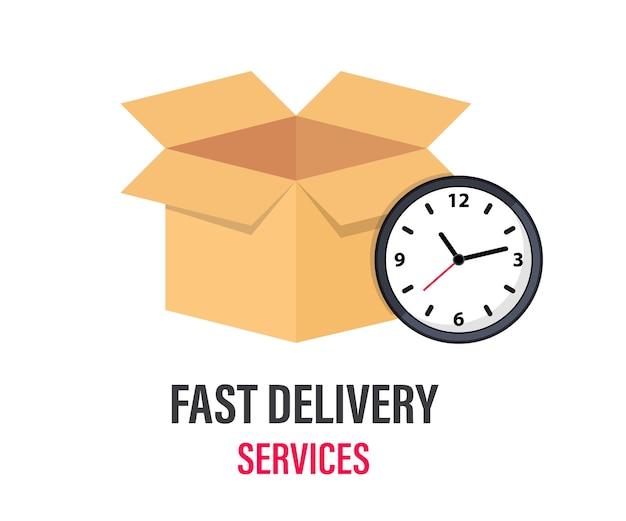 Szybka dostawa. pudełko kartonowe i zegar. ekspresowa dostawa, szybki czas. zamów dostawę na czas dla aplikacji i strony internetowej. koncepcja dostawy.