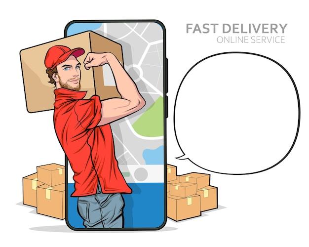 Szybka dostawa usługi człowiek z telefonu komórkowego możemy to zrobić koncepcja pop art comic style