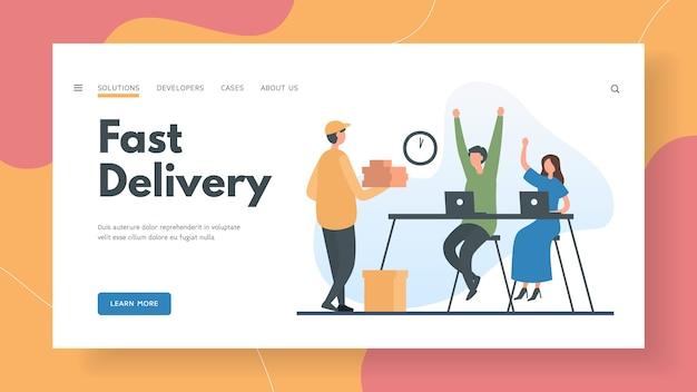 Szybka dostawa zamówienia online do szablonu strony docelowej biura