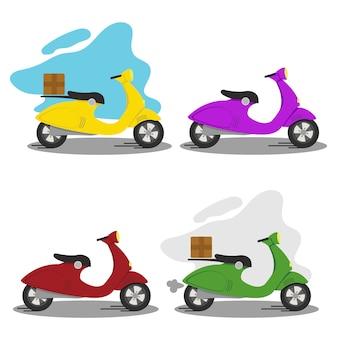 Szybka i bezpłatna dostawa produktów, żywności, towarów. zestaw skuterów do dostawy do domu i biura. i ilustracji. skuter żółty, zielony, czerwony i fioletowy. ikona, logo, elementy projektu.