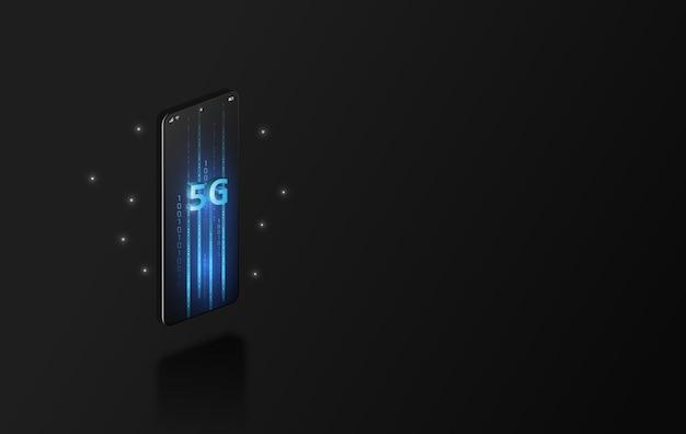 Szybka komunikacja internetowa 5g, mobilny smartfon