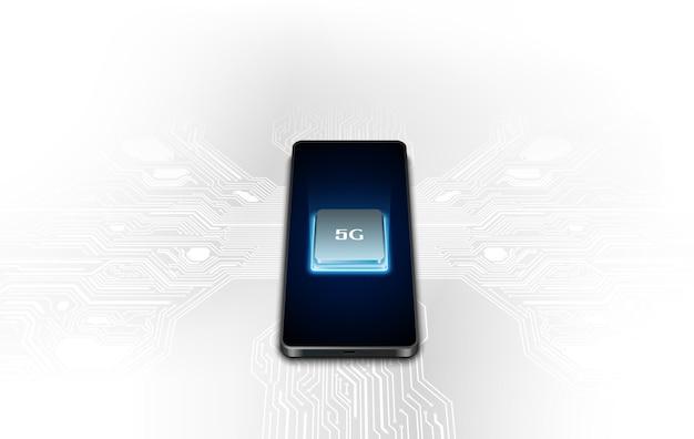 Szybka komunikacja sieciowa 5g, mobilny smartfon z ikonami 5g przepływający na wirtualnym ekranie, połączenie na całym świecie.
