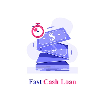 Szybka pożyczka gotówkowa, kilka banknotów dolarowych i stoper, rozwiązanie finansowe, mikropożyczki, łatwy przelew, zapewnienie finansowania, szybka wymiana walut, płaska ilustracja