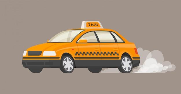 Szybka taksówka. samochód jeździ na zamówienie, pozostawiając za sobą kłęby dymu
