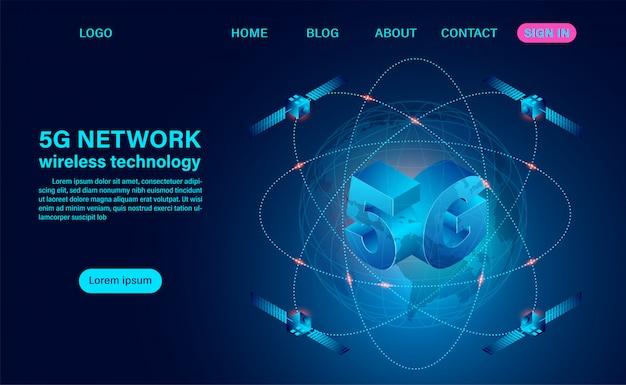 Szybka technologia bezprzewodowa sieci 5g. ilustracja izometryczny płaska konstrukcja