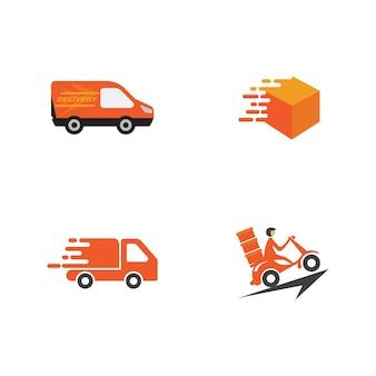 Szybka wysyłka dostawy ciężarówki płaskie wektor ikona