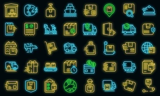 Szybka wysyłka ikony ustaw wektor zarys. biznes samochodowy. kurier ładunków