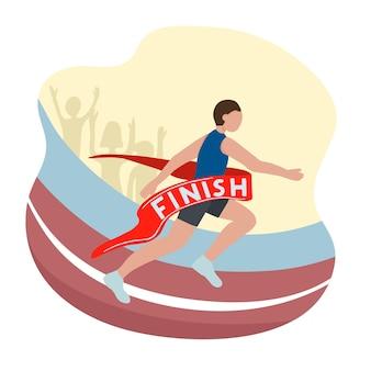 Szybki biegacz przekracza linię mety. zwycięzca zawodów biegowych. lekkoatletyka