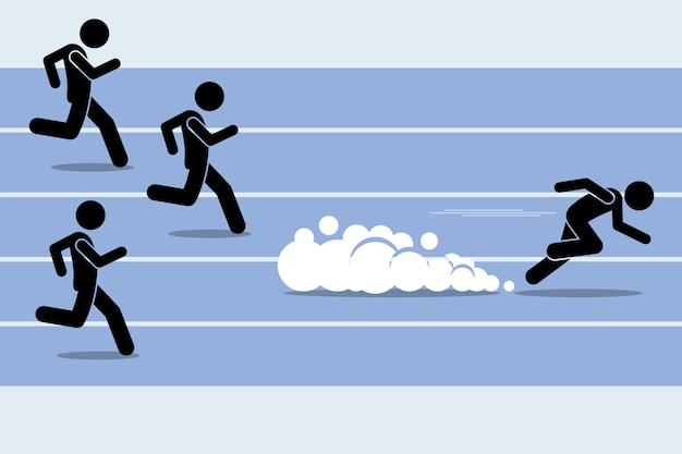 Szybki biegacz sprinter wyprzedzający wszystkich w wyścigu lekkoatletycznym. grafika przedstawia zwycięzcę, najszybszego, mistrza i dominację.