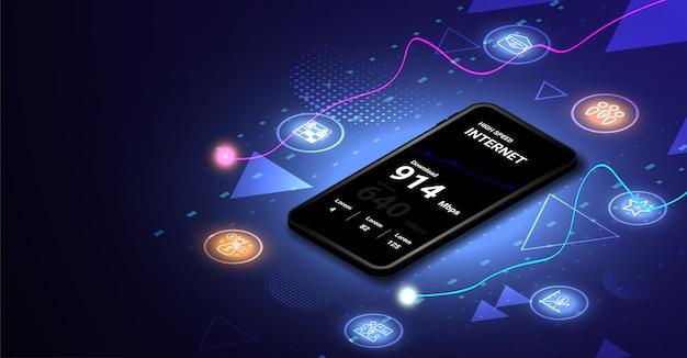Szybki Internet Na Mobilnej Koncepcji Izometrycznej Premium Wektorów