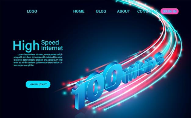 Szybki internet w globalnych sieciach szerokopasmowych izometryczna strona docelowa