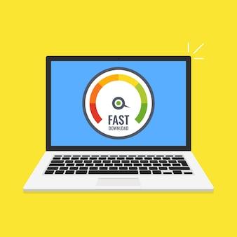 Szybki komputer do występów online. laptop z testem prędkości na ekranie. ilustracja wektorowa.