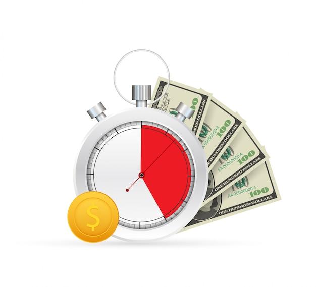 Szybki kredyt. zegar i torba, czas to pieniądz, szybka pożyczka, okres spłaty, konto oszczędnościowe. ilustracji.