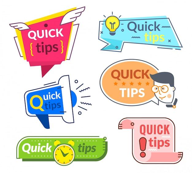 Szybkie etykiety ze wskazówkami. porady i wskazówki, porady, szybka pomoc. pomocna obsługa