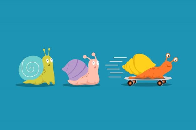 Szybkie i wolne ślimaki. ślimak z kołami wyprzedza innych w wyścigu. przewagi konkurencyjne biznes wektor koncepcja