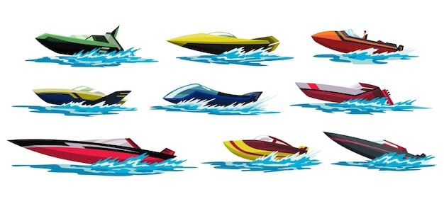 Szybkie łodzie motorowe. pojazdy morskie lub rzeczne. morska kolekcja letnich środków transportu.