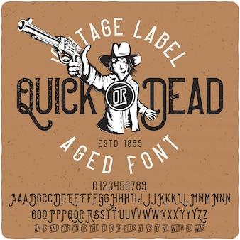 Szybkie lub martwe vintage napis