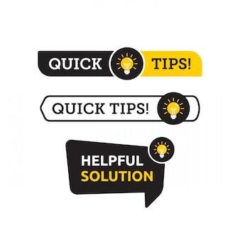 Szybkie porady, pomocne sztuczki ikona logo wektor lub zestaw symboli z kolorem czarno-żółtym i elementem żarówki