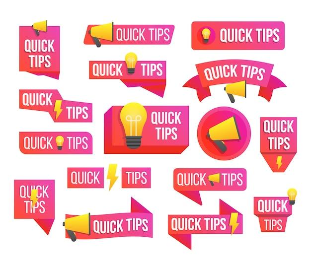 Szybkie porady, przydatne triki, podpowiedź, podpowiedź do strony internetowej. dymek. rada, wiadomość, odznaka.
