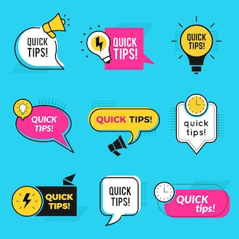 Szybkie porady. zarys graficzny kształtuje sztuczki przypominające notatki tekstowe lub zestaw odznak.
