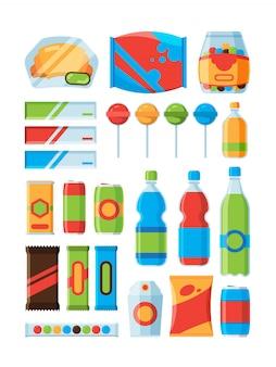 Szybkie przekąski. napoje gazowane frytki orzechy tabliczki czekolady sprzedawca zdjęcia produktów maszyny