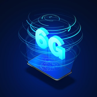 Szybkie sieci komórkowe 6g. telefon komórkowy z globalną siecią na ekranie i hologramem sieci bezprzewodowych z izometrycznym tekstem 6g w środku.