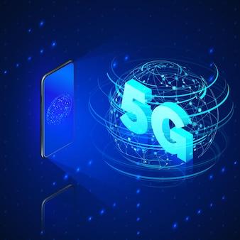 Szybkie sieci komórkowe. telefon komórkowy i hologram połączenia internetowego lub globalne sieci bezprzewodowe z tekstem izometrycznym w środku.